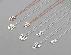 3D printable model Gothic Alphabets Letter Pendants