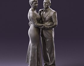 001001 pieces in white and gray suit and dress 3D Print