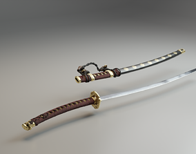leather Katana Sword 3D model low-poly PBR