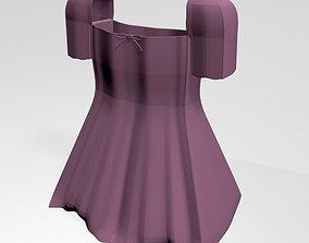 Square-Neck Short-Sleeve Mini A-Line Dress 01 3D
