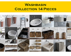 Washbasin Collection 14 Pieces 3D