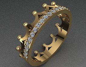 Crown Shaped Diamond Ring 3D print model