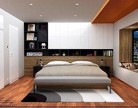 modern bedroom 3d model low-poly