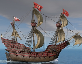 Galeon Dragon with sails 3D model