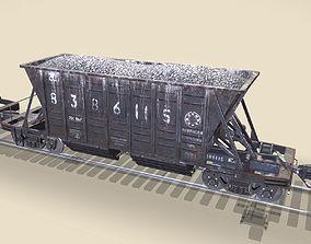 3D model game-ready Railway Hopper Car vr3