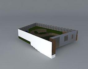 3D A terraced garden on a slope