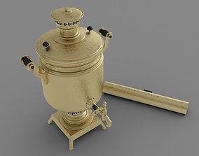 Russian Samovar teapot model gold game-ready