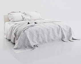 White bed linen with cushions 3D model