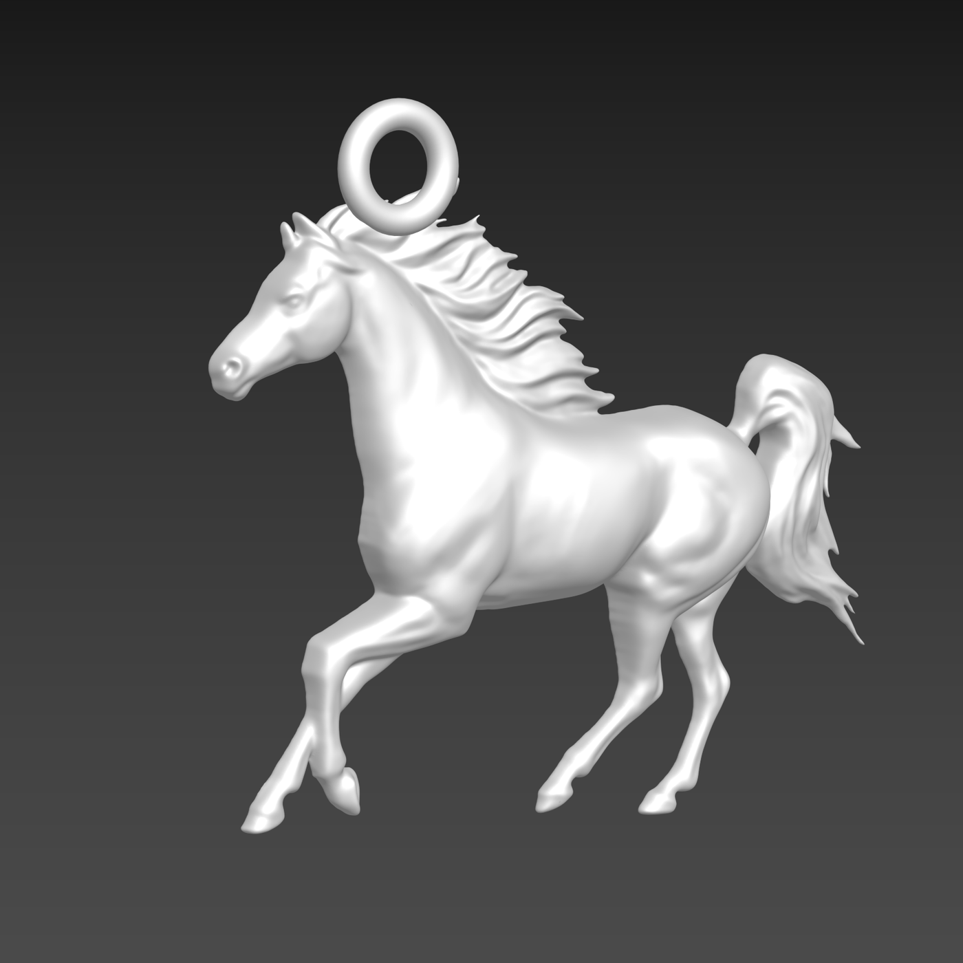 Horse Runner Sculpture pendant jewelry gold necklace medallion 3D print model