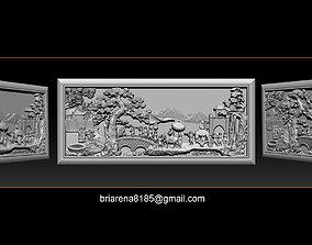 3D print model Mural landscape wood carving file stl OBJ 4