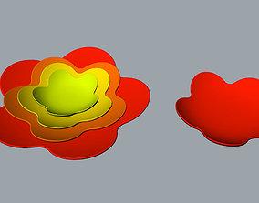 Plum flower ceramic dish 3D Model