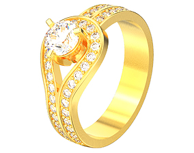 Engagement loop diamond ring 3D print model