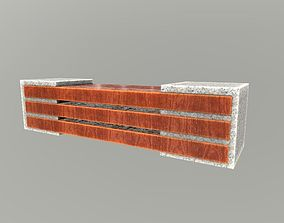 wooden bench and granite 3D model