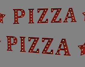 3D asset sign with bulbs pizza