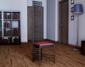 3D model UE4 Asset - Hill House Chair by Charles Rennie