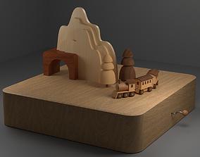 Wooden Train Music Box 3D model