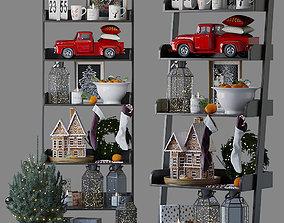 Rack with Christmas decor model