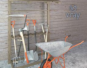 3D asset Garden tools set lowpoly