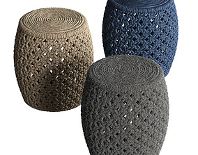 3D Set of wicker poufs Angela Stool by Madegoods - 3