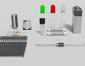 3D model Electronic components pack