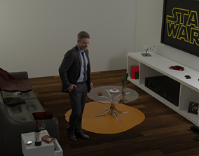 salon living room 3D model low-poly