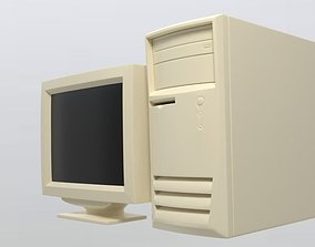 90S Old desktop computer and monitor 3D asset