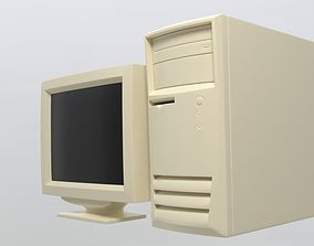 90S Old desktop computer and monitor 3D model