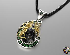 3D printable model jewelry pendant wild horse 0179
