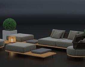 3D Furniture set Minotti Quadrado armchairs and tables 1