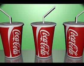 cardboard cup of coke 3D model