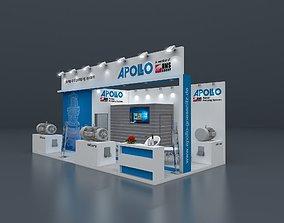 Exhibition stand 3D model 8x4 mtr 3 sides open 3D