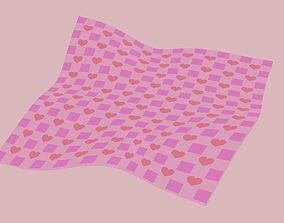 Picnic Blanket with Pink Hearts 3D
