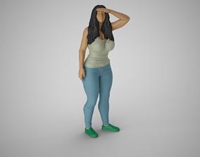 Girl Looking at Horizon from High 3D print model
