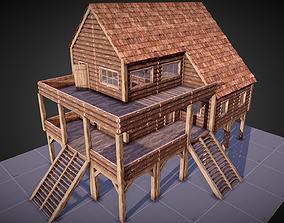 3D model Survival Base Wooden Modular House