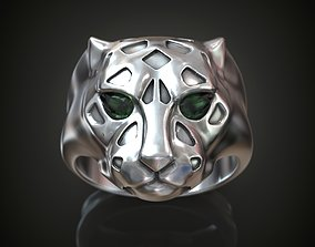 Panther ring pear cut emeralds 3D print model