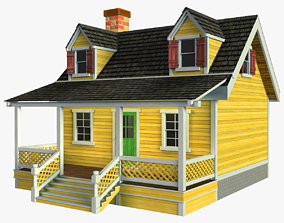 3D asset VR / AR ready Wooden House V02
