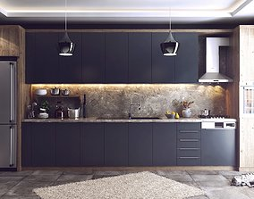 Modern Kitchen 3D Model Vray Settings and PSD File