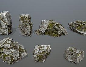 moss rock set 3D asset VR / AR ready