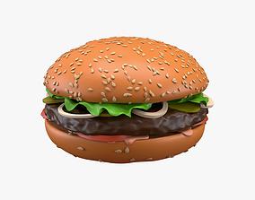 3D model Fast food hamburger 01 stylized