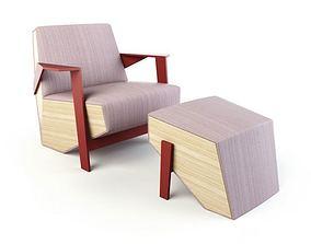 3D model white modern lounge armchair 53 am125