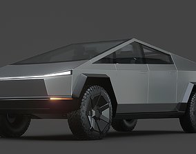 Tesla cybertruck 3D model chrome