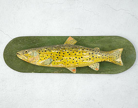 Antique Painted Carved Wood Fish Wall Sculpture 3 3D model