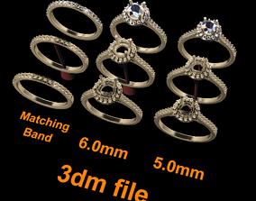 6mm 5mm Dainty Diamond Halo Engagement 3D print model 1