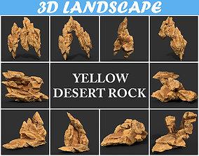 Low poly Yellow Rock Desert B 190418 3D model
