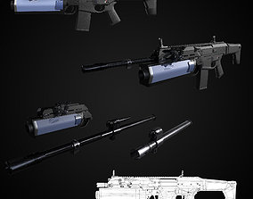 3D model FB MSBS Grot assault rifle with different set of