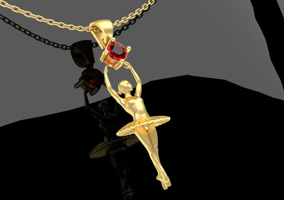 Ballerina Figurine Pendant Jewelry Gold 3D print model
