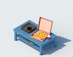 Game place ps4 pizza low-poly 3d model realtime