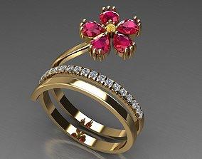 3D printable model flower ring fashion
