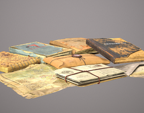 Old Document Pack 3D asset