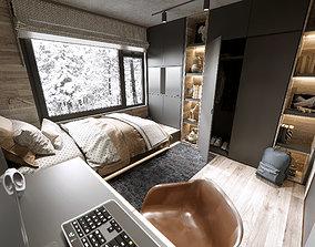 3D Scandinavian boys room